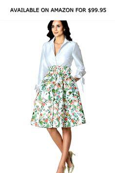 91830b9735 eShakti Women s Floral Print Dupioni Shirtdress ◇ AVAILABLE ON AMAZON FOR    99.95 ◇ For the