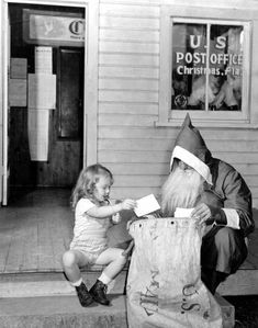 Marion Stockton and Santa Claus: Christmas, Florida, 1947.