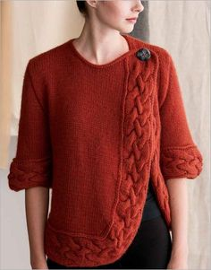 Turned-Cable Cardigan Convert to crochet?A swingy, criss-cross shape and soft spun yarn whip up into a warm and cozy cardigan. A large cable adds interest to the border. Cable Cardigan, Cardigan Pattern, Sweater Knitting Patterns, Jacket Pattern, Knitting Designs, Cardigan Design, Knit Poncho, Knitting Daily, Easy Knitting
