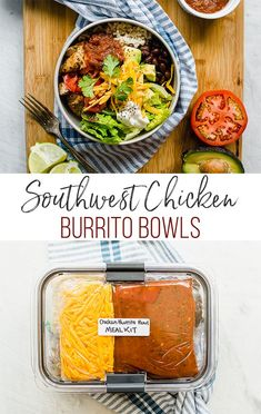 Southwest Chicken Burrito Bowls are a healthy and filling dinner idea for everyone! Delicious marinated grilled chicken is served over brown rice and with your favorite southwest toppings. Chicken Burrito Bowls can easily be meal prepped for the week or turned into an easy freezer meal. #burritobowl #mealprep