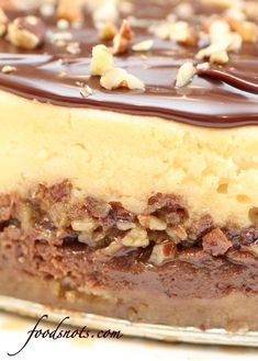 LAYERED TURTLE RECIPE ~ The perfect combination of cheesecake, pecans, caramel, and chocolate. Seriously, this is just flat out amazing! Köstliche Desserts, Delicious Desserts, Dessert Recipes, Yummy Food, Turtle Cheesecake Recipes, Chocolate Cheesecake Recipes, Yummy Treats, Sweet Treats, Cheesecakes
