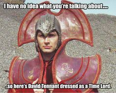 David Tennant dressed as a Time Lord.