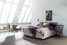 Stoff Gusta 374 grey, Softline I overmadrass og 14 cm kantet konet sorte ben Furniture, Interior, Home, Bed, Interior Design, Bedroom