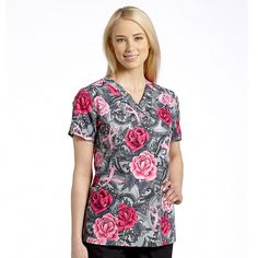 White Cross Women's V-Neck Breast Cancer Awareness Print Scrub Top #scrubs #pinkribbon #breastcancerawareness #nurse #hospitalstyle #medicalstyle