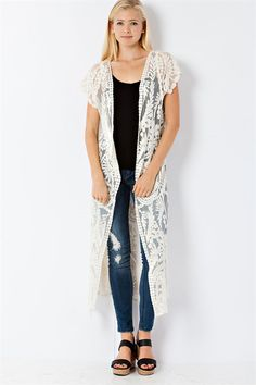 Embroidered Noelle Cardigan in Natural Beauty | Women's Clothes, Casual Dresses, Fashion Earrings & Accessories | Emma Stine Limited
