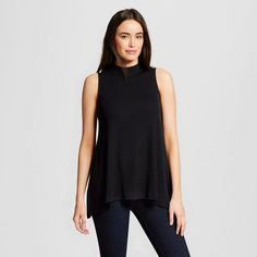 Women's Mock Neck Tank Black Xxl - Mossimo