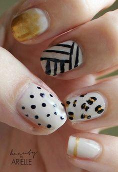 Mix Match Nails #dottednails #polkadots #nailart #stripednails #black #white - bellashoot.com