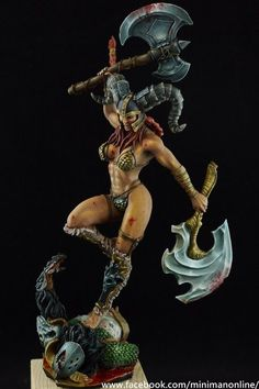A barnie bad butt female warrior. D&D, dnd, pathfinder Female Character Design, Character Art, Statues, Red Sonja, Fantasy Miniatures, Miniature Figurines, Mini Paintings, Figure Model, Art Model