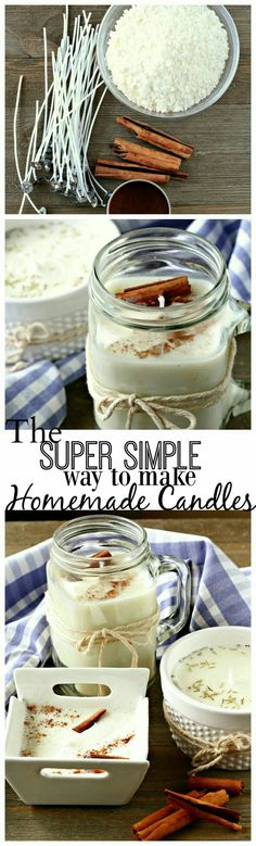 Super simple way to make homemade candles! Perfect for allergies or gift-giving. #candlemakingcontainers
