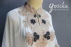 White Caftan Sequin Dress Embroidery Petite Chiffon by Yosika