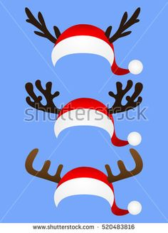 Set Of Funny Hat Of Santa Claus With Reindeer Horns  Stock Vector Illustration 520483816 : Shutterstock