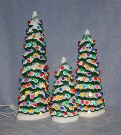 Hand painted Ceramic Tall Christmas Tree by FlutterbyConnections
