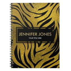 Gold  Glitter Tiger   pattern print on black Notebook - glitter gifts personalize gift ideas unique