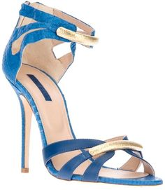 ELIE SAAB | blue leather sandal | open toe | gold-tone bar across the front | high stiletto heel