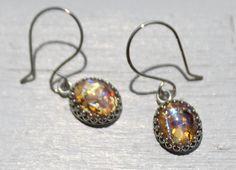 Sterling SIlver Vintage Glass Topaz Opal Earrings by Beazora