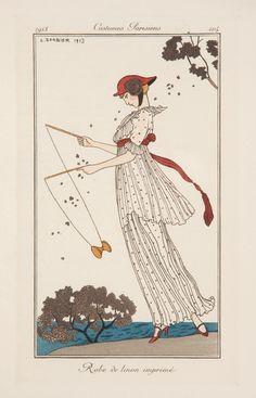 Dress in printed linen, illustration from 'Journal des Dames et des Modes', 1913 (colour litho)