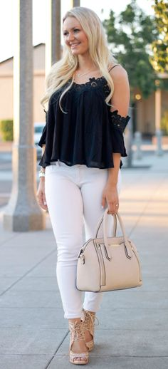 Black lace shoulder top + white jeans and beige accessories