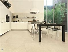 #NewStone #Kitchen featuring #Pietra di #Lecce field #tile #polished + #Muretto #WallTile - available at #MidAmericaTile