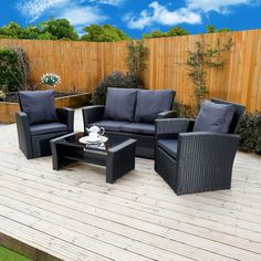 december 2016 week 1 abreo new algarve rattan wicker weave garden furniture patio conservatory sofa set includes outdoor prote Corner Sofa With Cushions, Rattan Corner Sofa, Corner Sofa Set, Rattan Sofa, Black Rattan Garden Furniture, Garden Furniture Sets, Outdoor Garden Furniture, Sofa Furniture, Black Furniture
