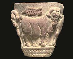 A SUMERIAN LIMESTONE BULL CUP -  LATE URUK/JEMDET NASR PERIOD, CIRCA 3100-2900 B.C.