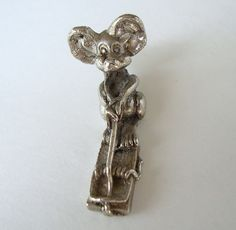 Mouse Sitting on a Trap Heavy Necklace Pendant or Charm Shelf Sitter Figural Jewelry