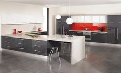 Cute Grey Gloss Kitchen Cabinets 87 For Furniture Home Design Ideas by Grey Gloss Kitchen Cabinets Grey Gloss Kitchen, High Gloss Kitchen Cabinets, Cheap Kitchen Cabinets, Red Kitchen, Grey Cupboards, Laundry Cabinets, New Kitchen Designs, Modern Kitchen Design, Kitchen Ideas