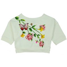 Monnalisa Girls White Crop Top with Rose Butterfly and Bee Print