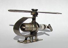 Metal Sculpture Spark Plug Helicopter