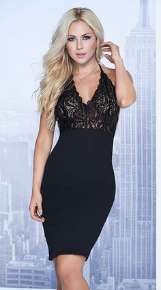 Dress up for a night out in this sexy black dress featuring sheer lace cups with a V-neckline, halter straps, an open back, and a black pencil skirt with a back slit. Sexy and Sweet Black Dress, Black Lace Dress, Black Pencil Dress