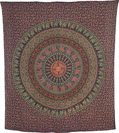 Kadi Elephant Mandala Tapestry, Bohemian Wall Hanging and Bedspread (Large, 7 X 8 Feet, 100% Cotton, Fair Trade Certified)
