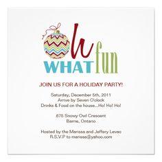 Fun Chevron Christmas Party Invitation.  $2.45