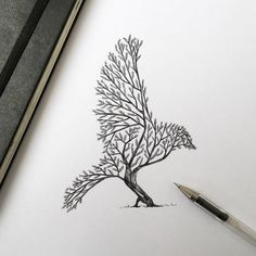 Эскиз тату: Силуэт птицы из веток деревьев