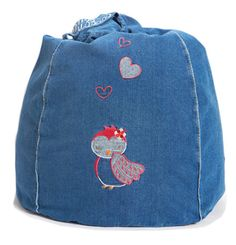 Dreamy Owl Denim Bean Bag  from cocooncouture.com