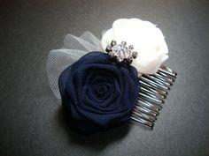 Navy Ivory Rose Comb Bride Bridal Bobby Pin Headband by lionusagi Wedding Shoes, Wedding Attire, Blue Wedding, Wedding Stuff, Dream Wedding, Wedding Ideas, Trendy Wedding, Wedding Flowers, Wedding Planning