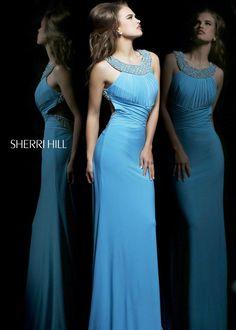 11025 Sherri Hill Blue Party Dress
