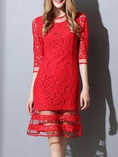 Shop Midi Dresses - Red Crew Neck 3/4 Sleeve Sheath Crocheted Midi Dress online. Discover unique designers fashion at StyleWe.com.