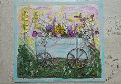 Панно «Тележка с цветами»