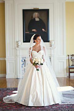 Silk Taffeta Wedding Gown strapless with veil.
