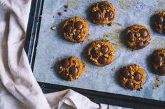 Pumpkin Walnut Cookies with Choc Buttons - Sugar Pumpkin, Pumpkin Puree, Fall Recipes, Vegan Recipes, Walnut Cookies, Fall Treats, Coconut Sugar, Baking Sheet, Vegan Desserts
