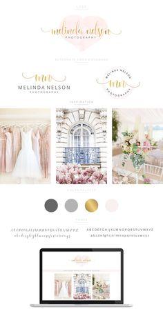 Branding Kit, Branding Package, Premade Logo, Watercolor Logo, Gold Logo, Heart Logo, Calligpaphy Logo, Photography Logo, Wedding Logo
