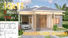 House design 10x11 with 3 Bedrooms Roof tiles