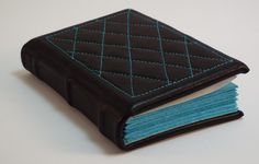 Black leather bound Pocket journal with Aqua by SolitaireDesigns