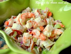 Easy Italian Shrimp Salad...amazingly light, it's made with fresh shrimp, lemon juice, celery, carrots, red onion, and a touch of mayo served with crusty bread or lettuce cups