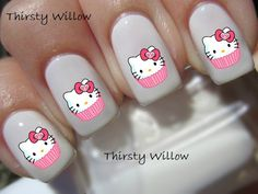 Hello Kitty Cupcake Nail Decals by ThirstyWillow on Etsy