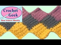 How to crochet knit ENGLISH Entrelac Stitch for Afghan or Blanket Official Video Post - YouTube