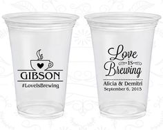 Love Is Brewing Wedding Clear Plastic Cups Coffee