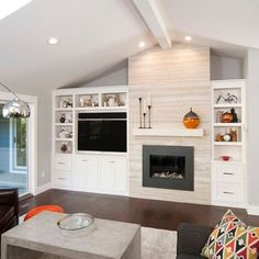 Asymetrical Built In Bookcase With TV And Fireplace Design Ideas, Pictures, Remodel and Decor