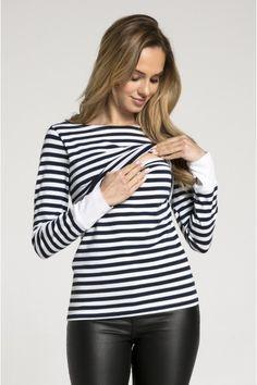 451af532d1810 Happy Mama £14 - Women's Maternity Nursing Double Layer T-shirt Stripes  Detail 101 (Navy, UK 12)