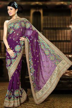 Purple Faux Georgette Embroidered Party and Festival Saree Sku Code:145SA2002C $ 80.00