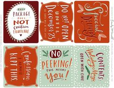 Reallly fun (and funny) free printable Christmas labels and gift tags by Emily McDowel